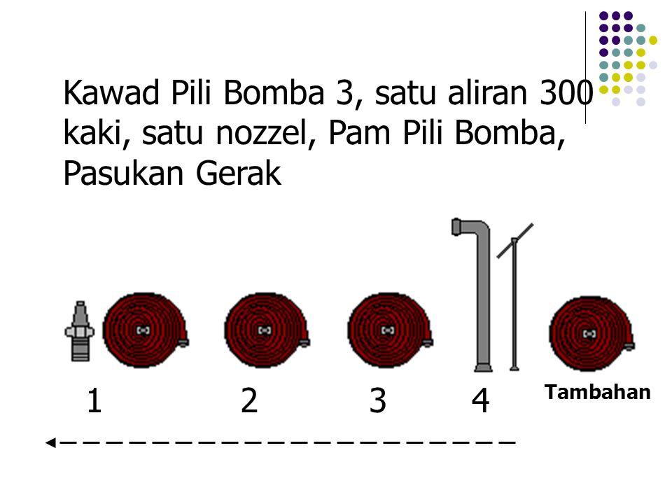 Kawad Pili Bomba 3, satu aliran 300 kaki, satu nozzel, Pam Pili Bomba, Pasukan Gerak