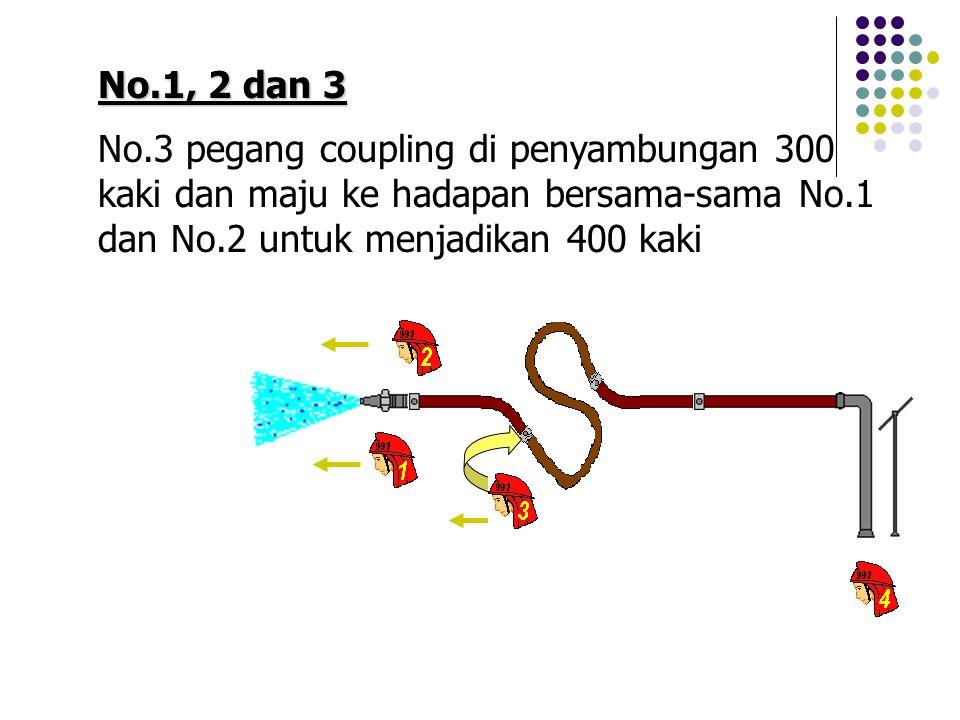 No.1, 2 dan 3 No.3 pegang coupling di penyambungan 300 kaki dan maju ke hadapan bersama-sama No.1 dan No.2 untuk menjadikan 400 kaki.