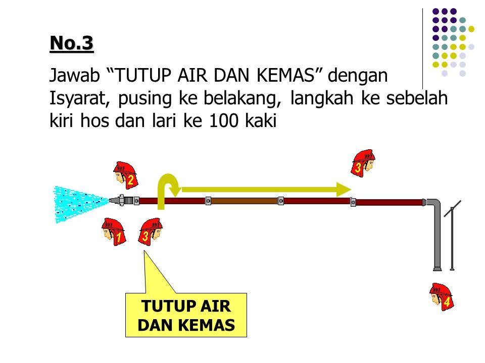 No.3 Jawab TUTUP AIR DAN KEMAS dengan Isyarat, pusing ke belakang, langkah ke sebelah kiri hos dan lari ke 100 kaki.