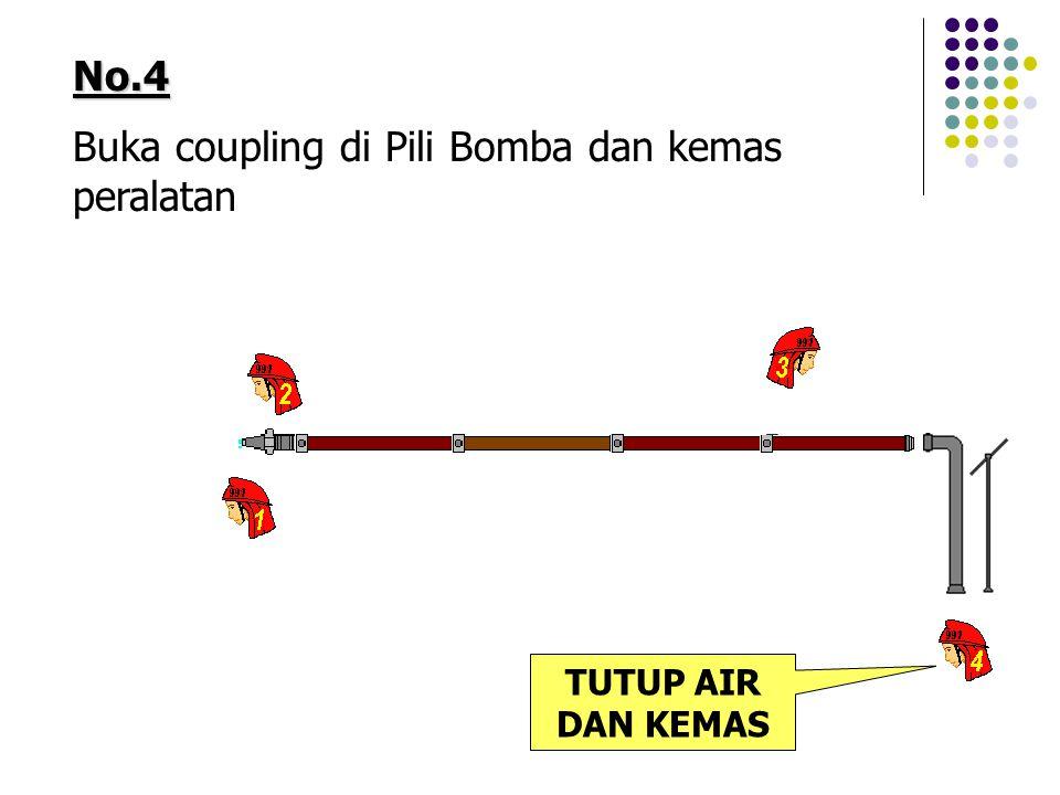 Buka coupling di Pili Bomba dan kemas peralatan