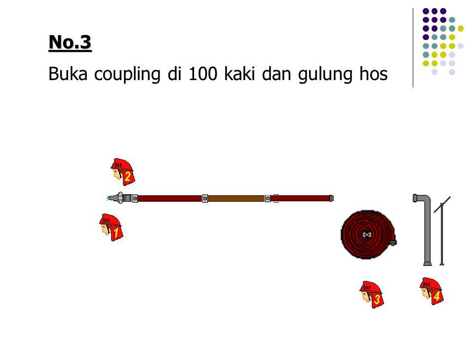 No.3 Buka coupling di 100 kaki dan gulung hos