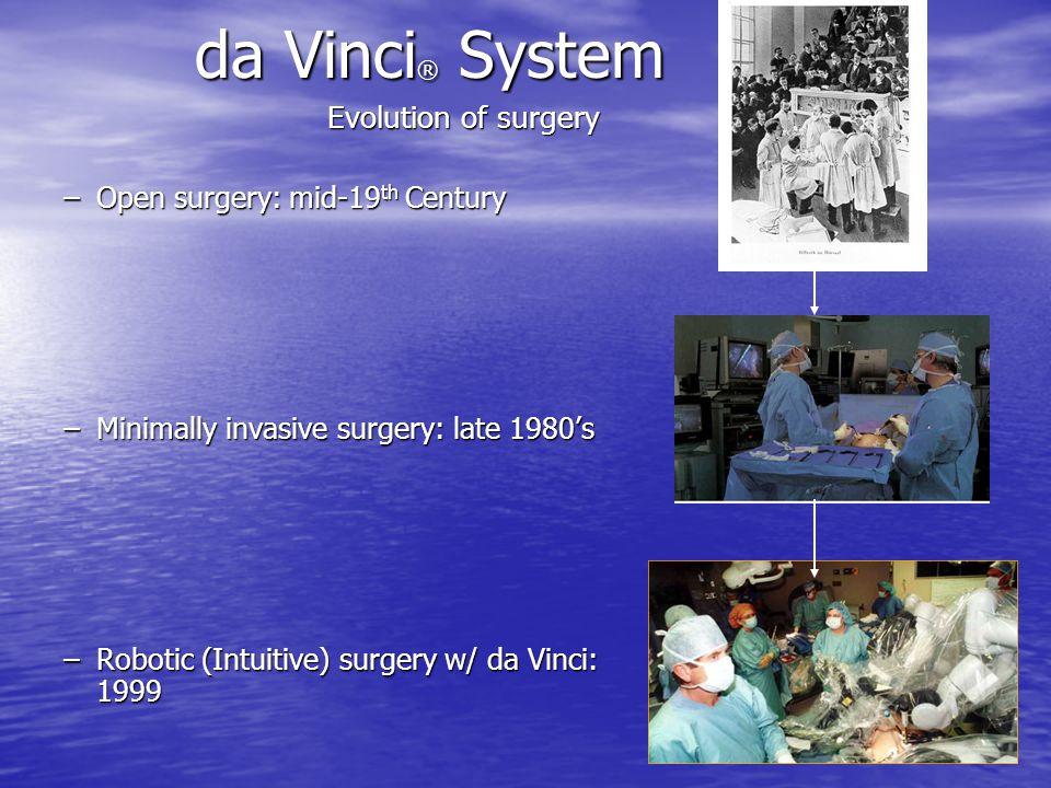da Vinci® System Evolution of surgery Open surgery: mid-19th Century