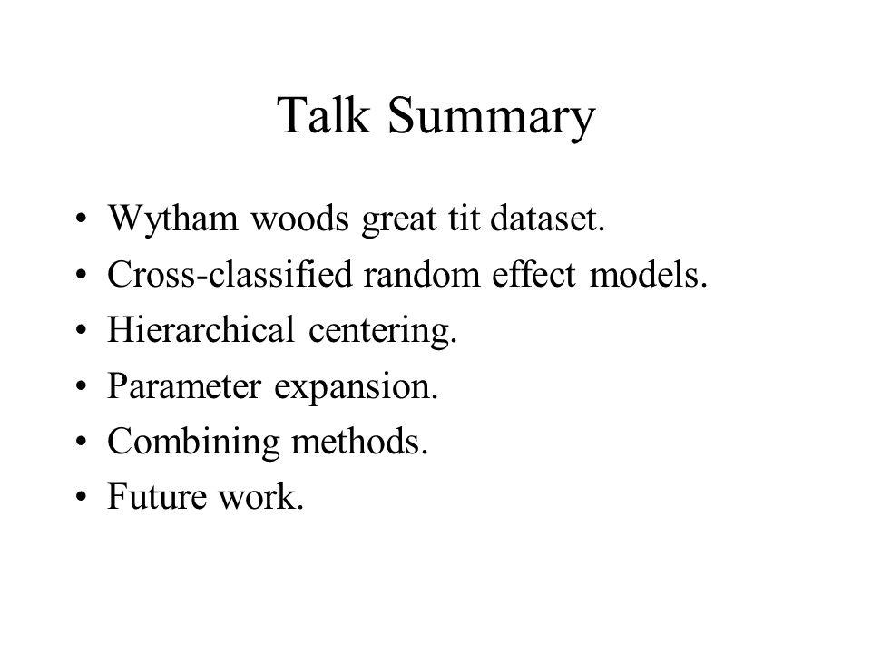 Talk Summary Wytham woods great tit dataset.