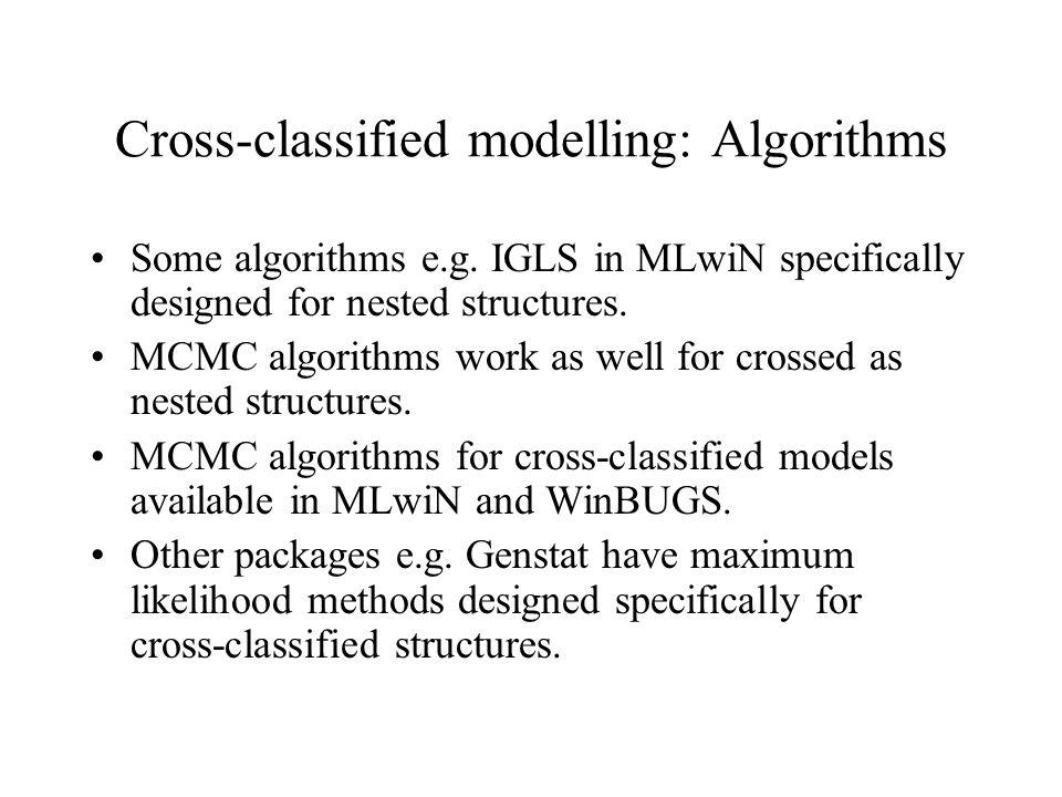 Cross-classified modelling: Algorithms