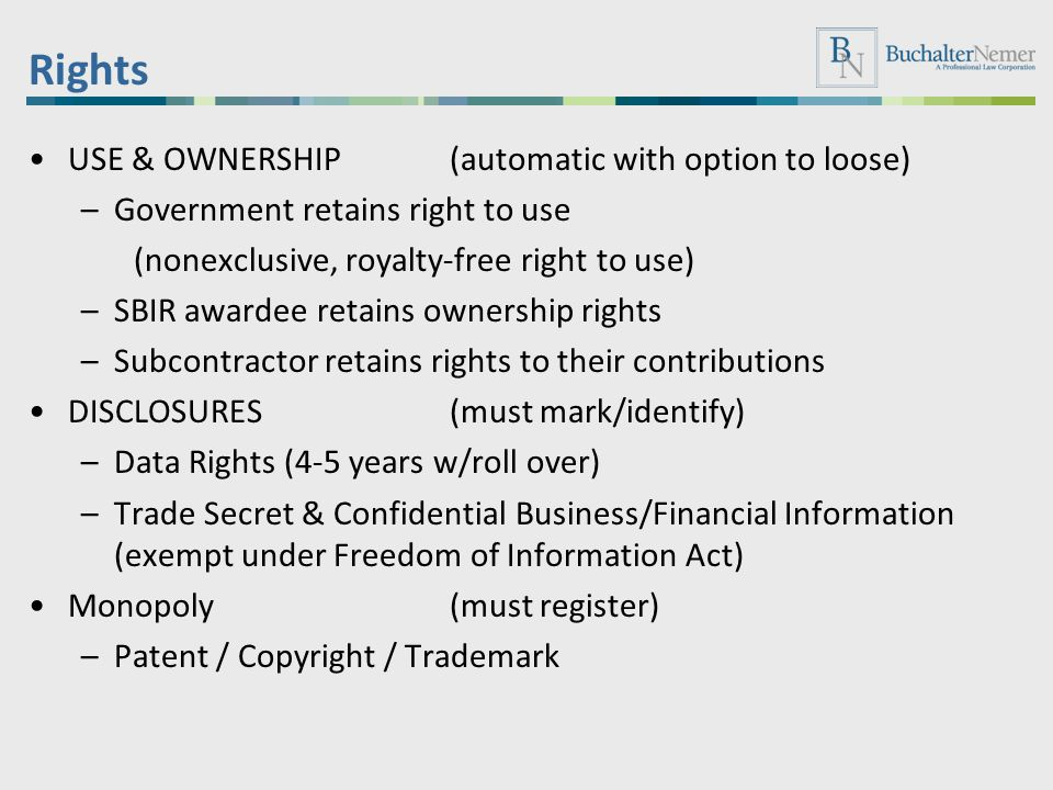 Rights USE & OWNERSHIP (automatic with option to loose)