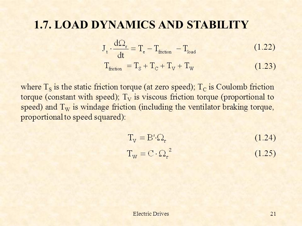 1.7. LOAD DYNAMICS AND STABILITY