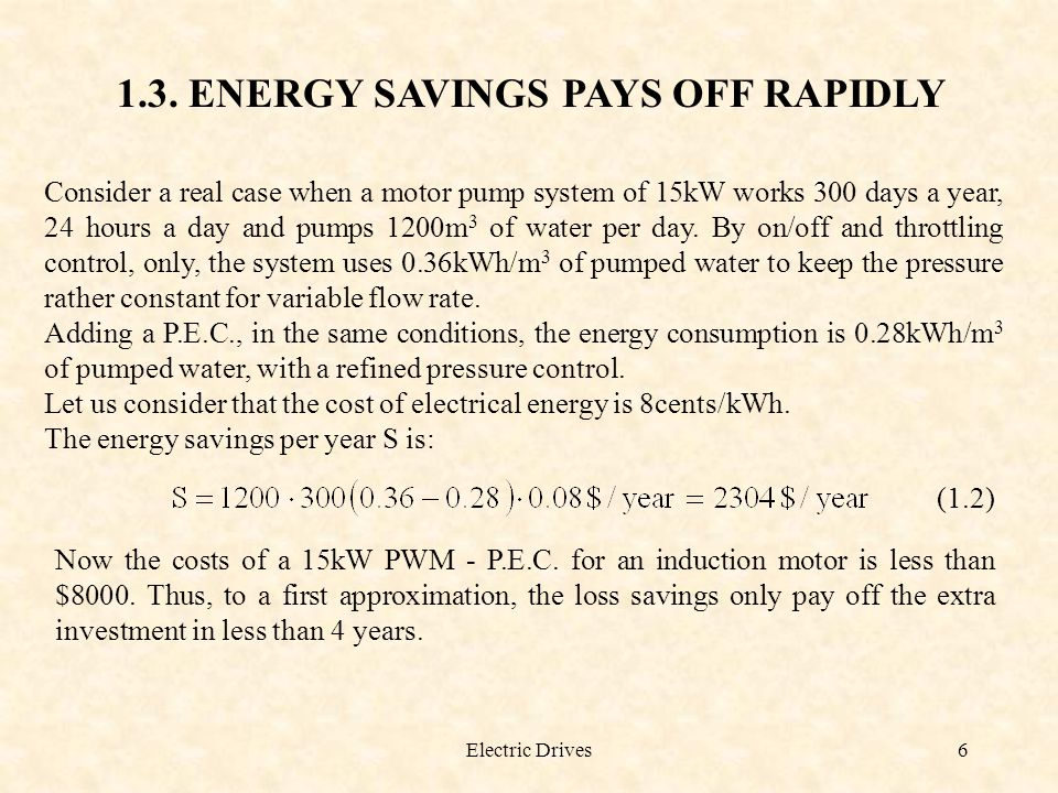 1.3. ENERGY SAVINGS PAYS OFF RAPIDLY