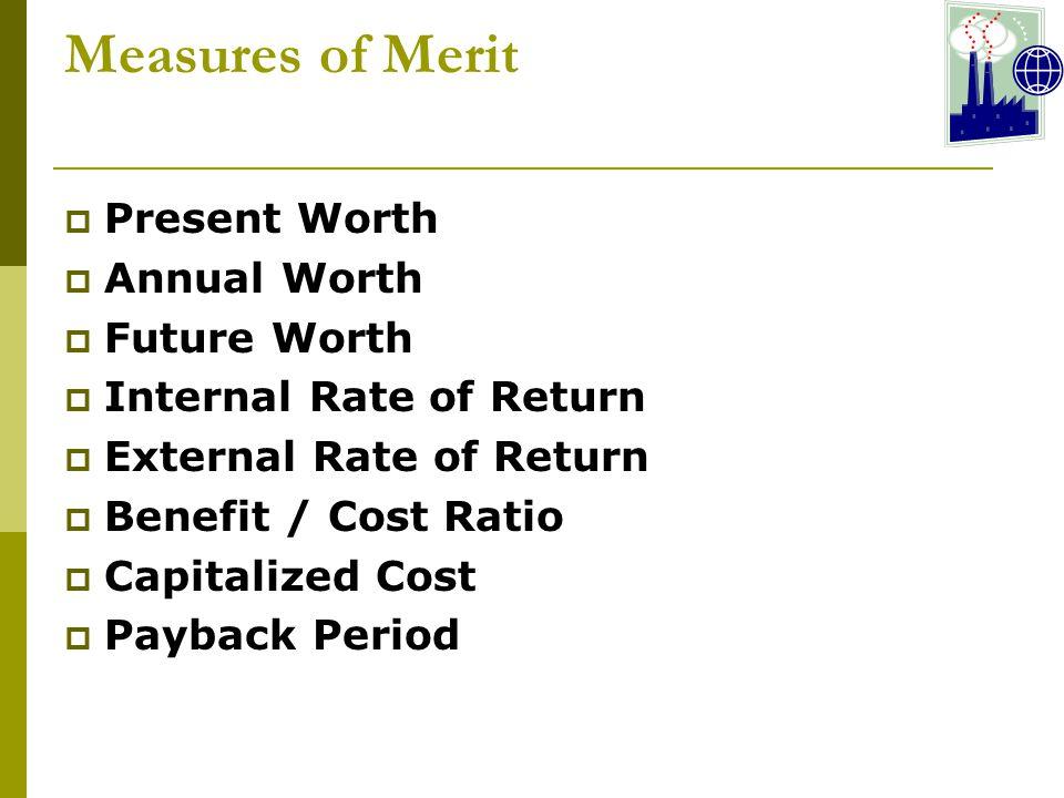 Measures of Merit Present Worth Annual Worth Future Worth
