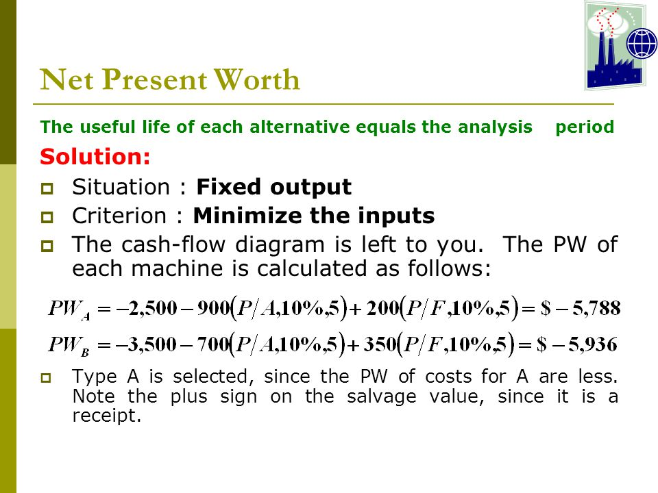 Net Present Worth Solution: Situation : Fixed output
