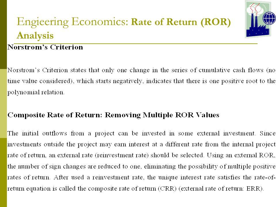 Engieering Economics: Rate of Return (ROR) Analysis