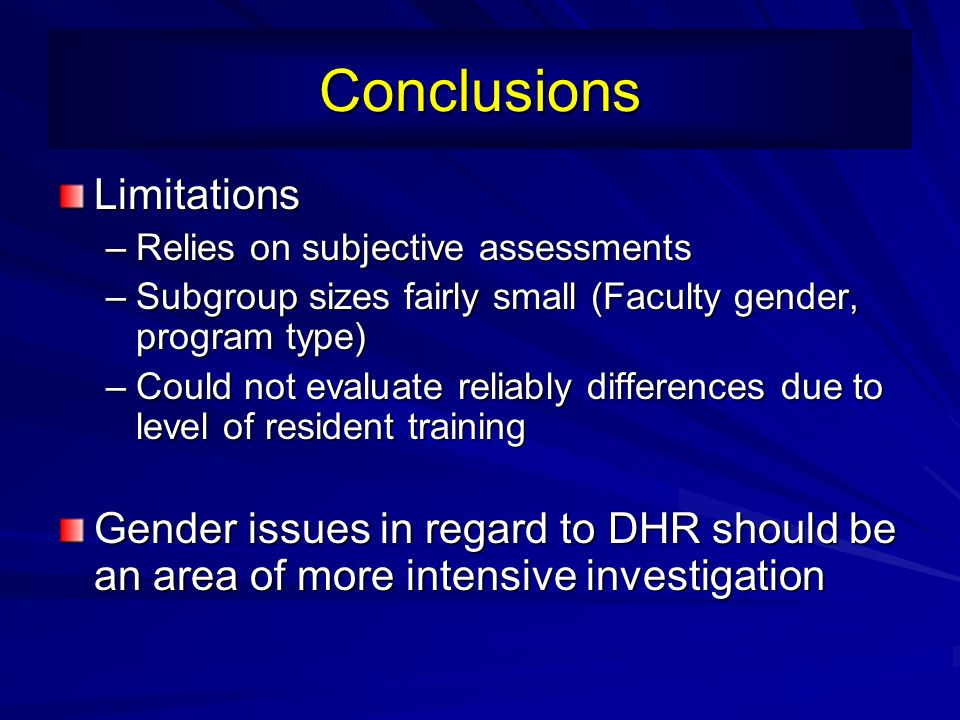Conclusions Limitations