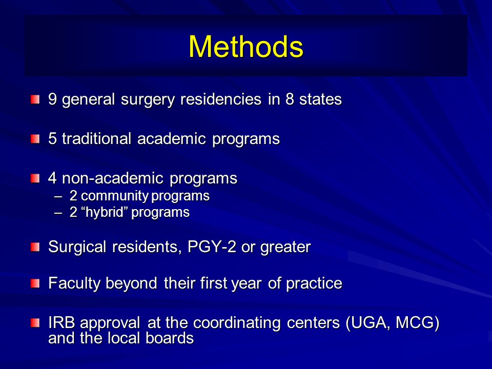 Methods 9 general surgery residencies in 8 states