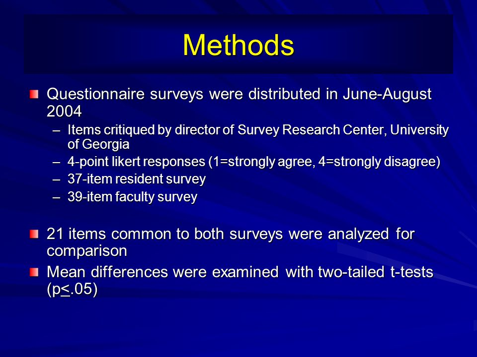 Methods Questionnaire surveys were distributed in June-August 2004