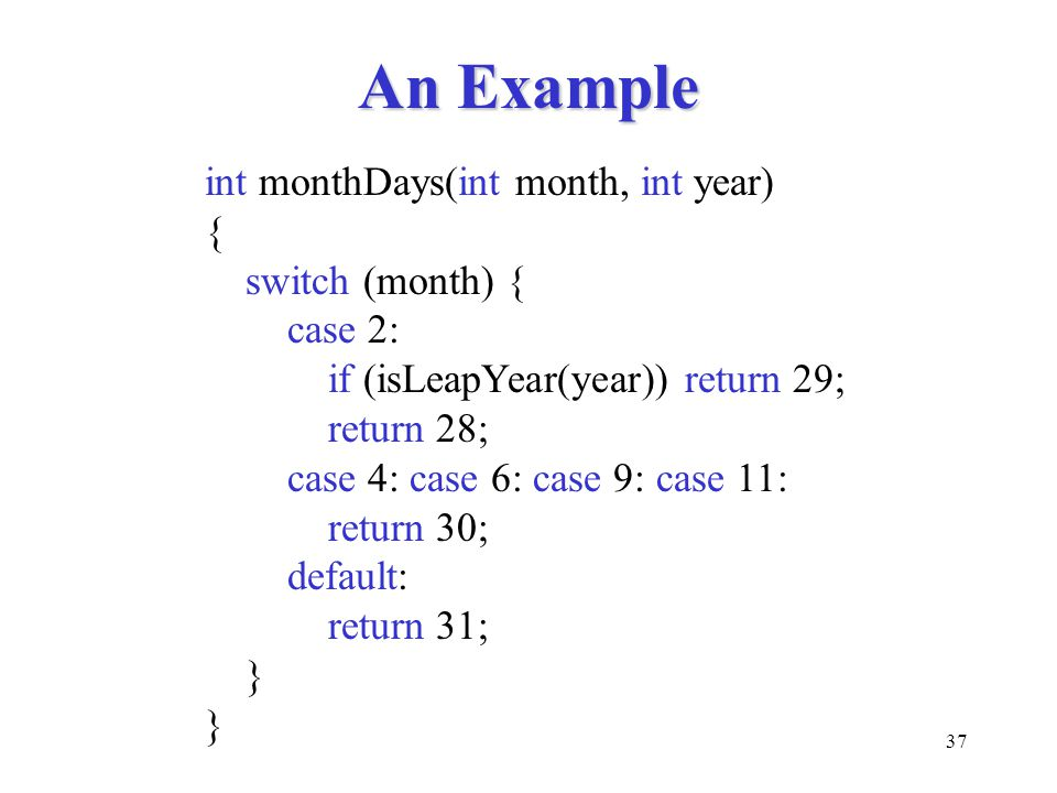 An Example int monthDays(int month, int year) { switch (month) {