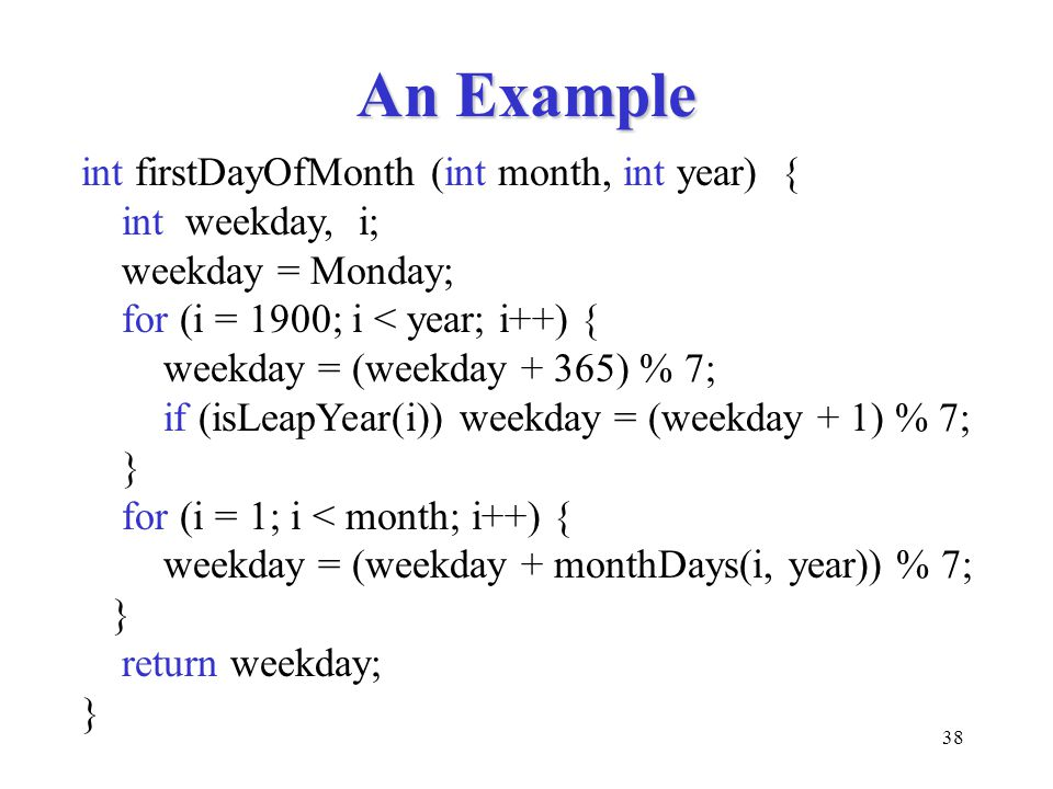 An Example int firstDayOfMonth (int month, int year) { int weekday, i;