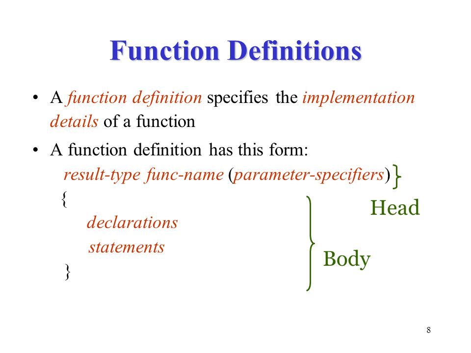 Function Definitions Head Body