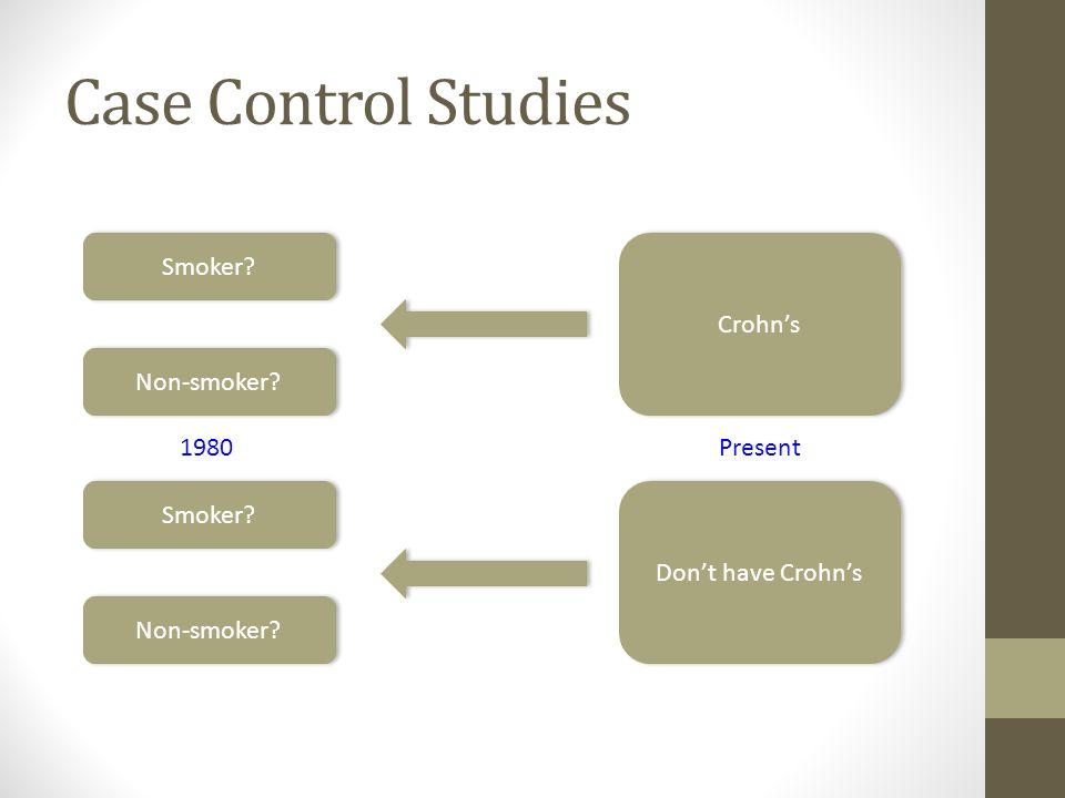 Case Control Studies Smoker Crohn's Non-smoker 1980 Present Smoker