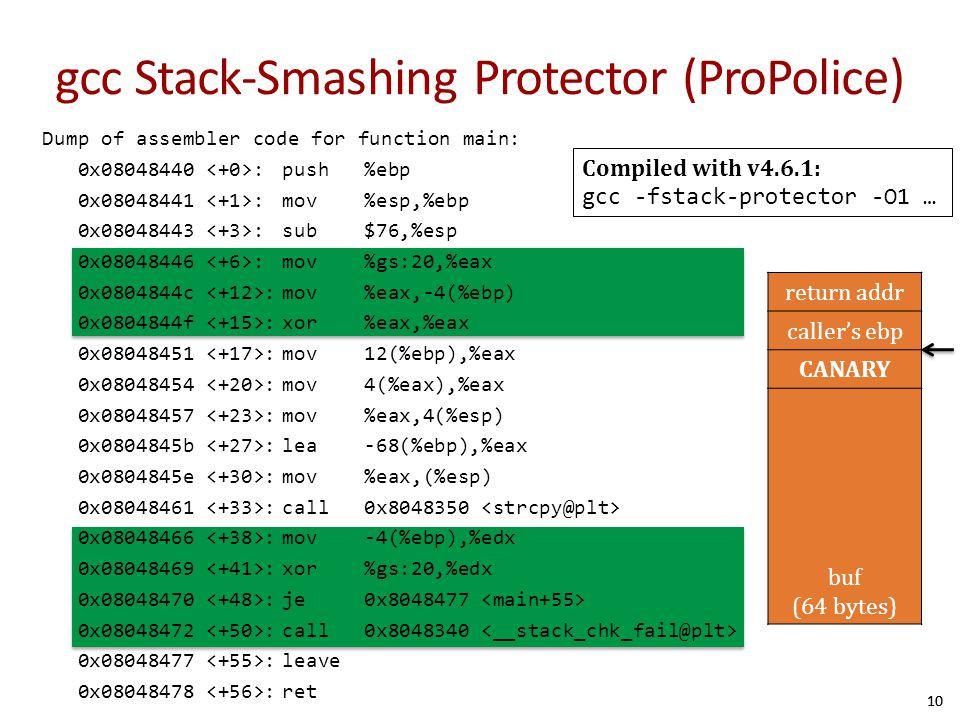 gcc Stack-Smashing Protector (ProPolice)
