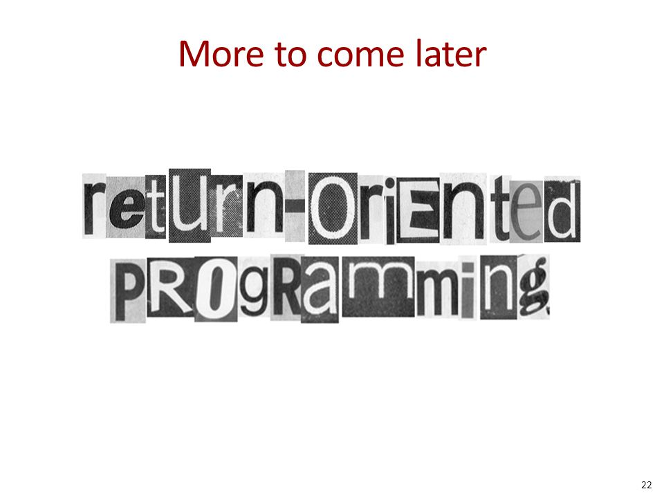More to come later simple: return-to-libc