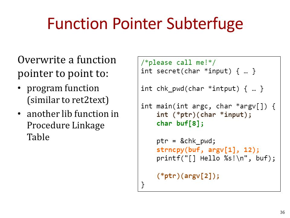 Function Pointer Subterfuge