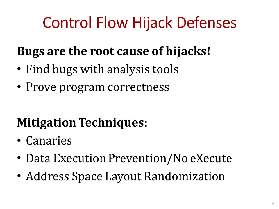 Control Flow Hijack Defenses