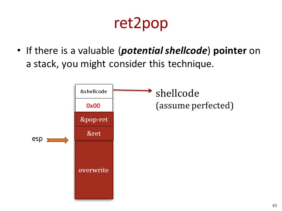 ret2pop If there is a valuable (potential shellcode) pointer on a stack, you might consider this technique.