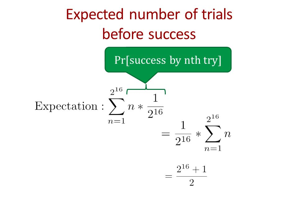 Expected number of trials before success