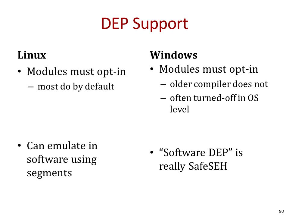 DEP Support Linux Windows Modules must opt-in