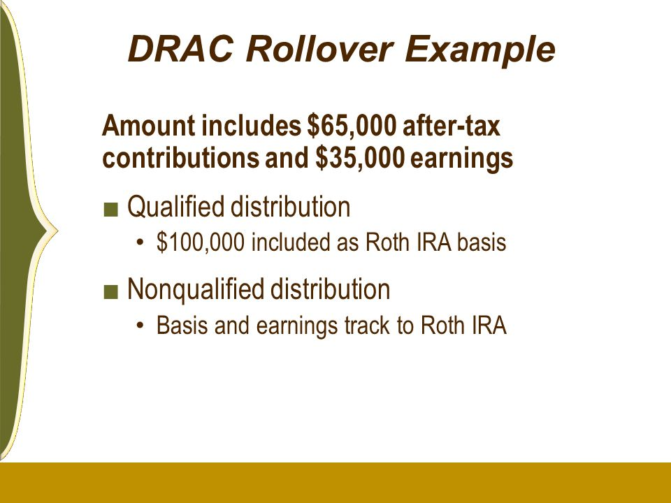 DRAC Rollover Example Amount includes $65,000 after-tax contributions and $35,000 earnings. Qualified distribution.