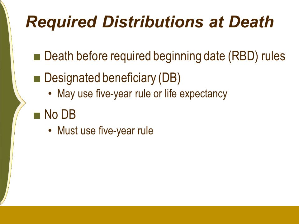 Required Distributions at Death