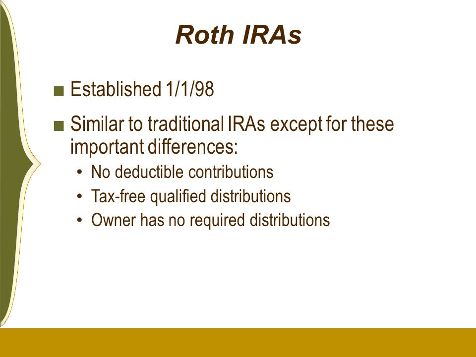 Roth IRAs Established 1/1/98