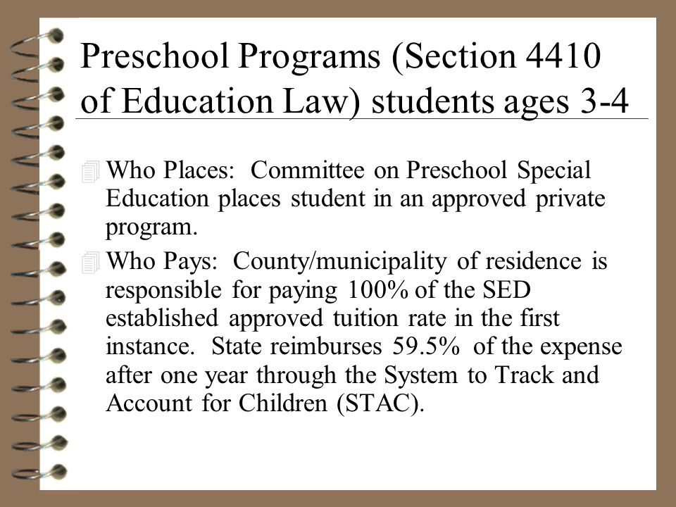 Preschool Programs (Section 4410 of Education Law) students ages 3-4