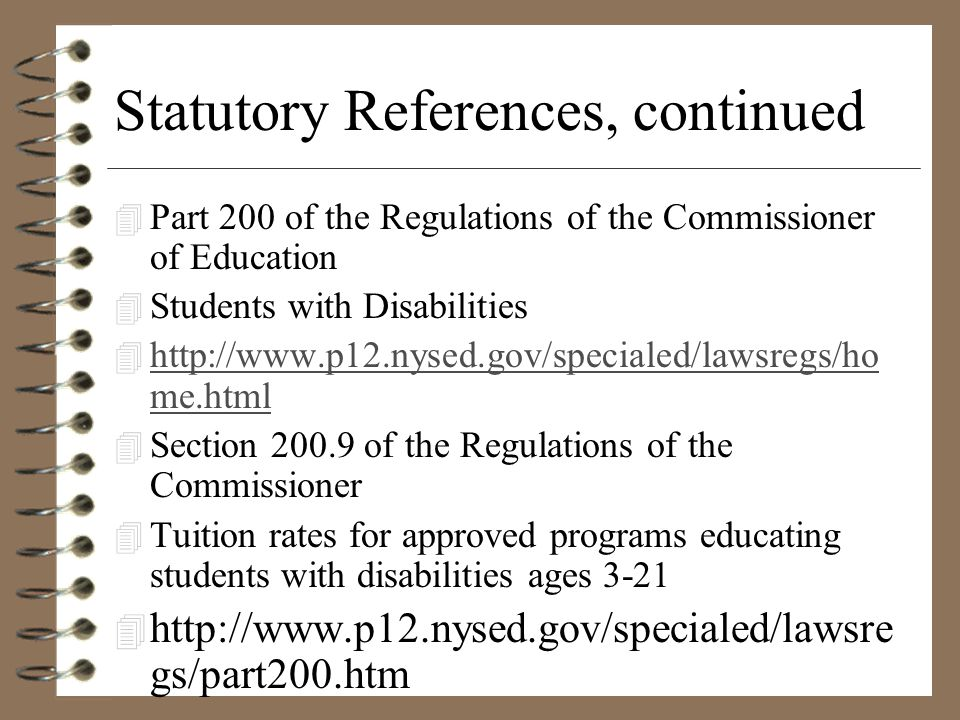 Statutory References, continued