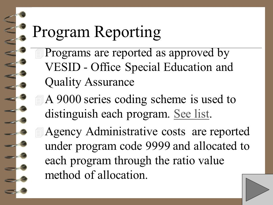 Program Reporting Programs are reported as approved by VESID - Office Special Education and Quality Assurance.