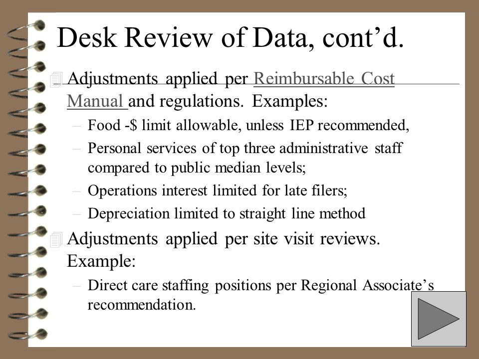 Desk Review of Data, cont'd.