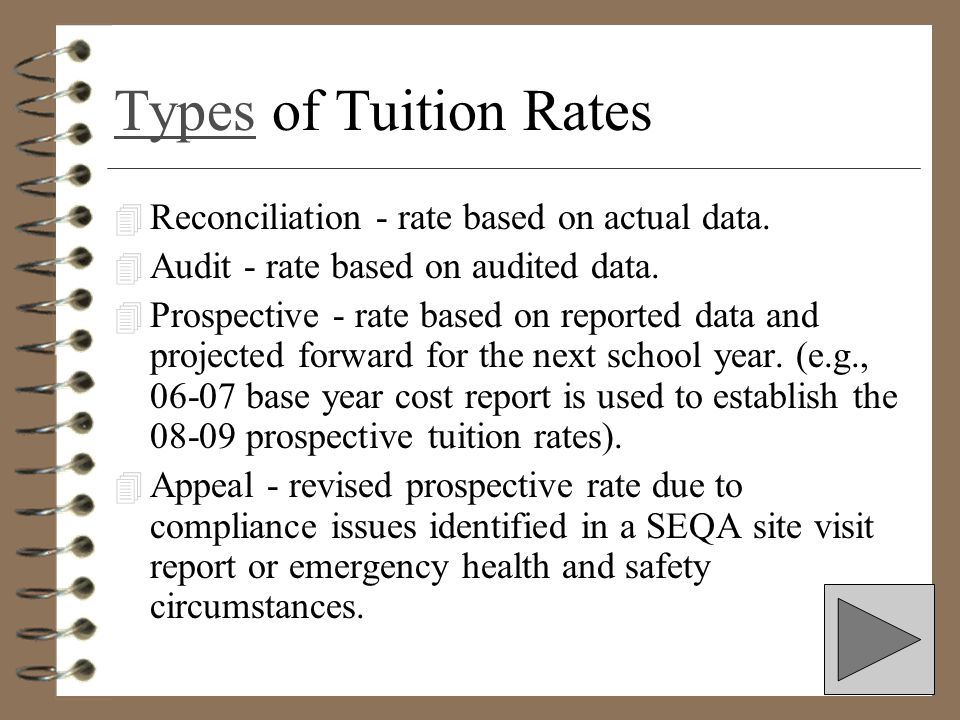Types of Tuition Rates Reconciliation - rate based on actual data.