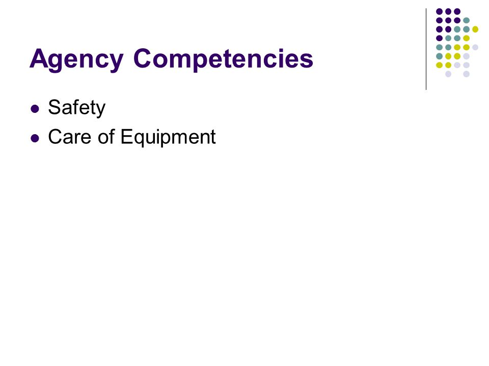 Agency Competencies Safety Care of Equipment
