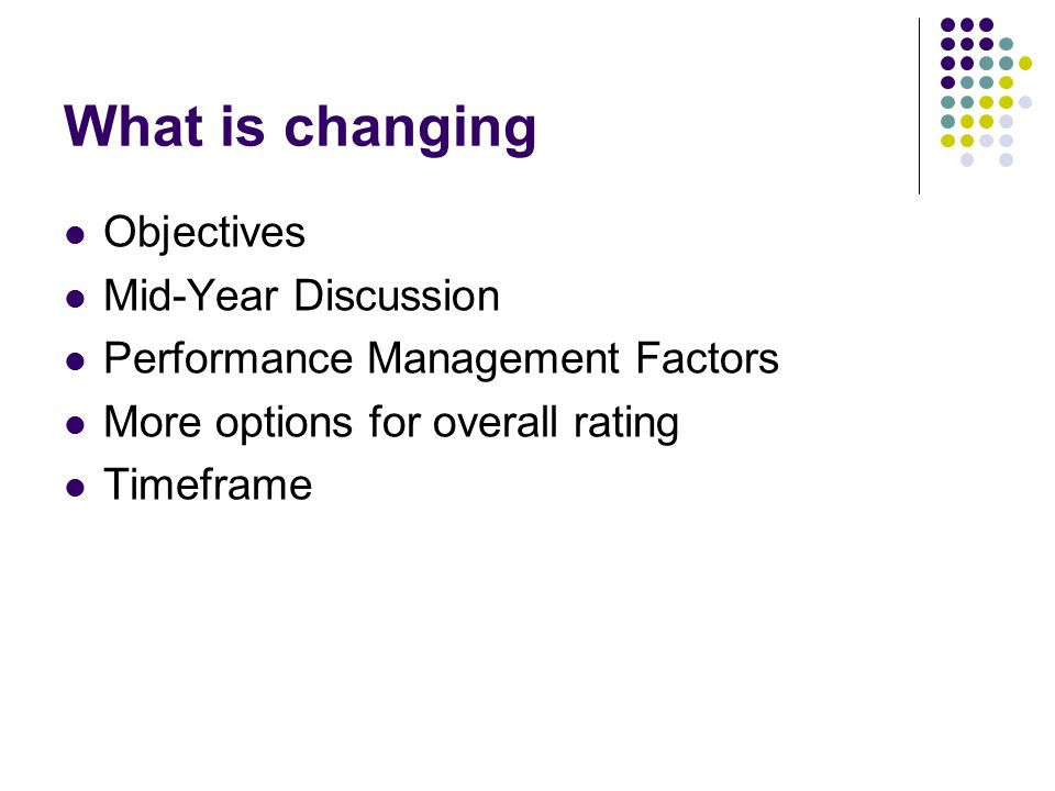 What is changing Objectives Mid-Year Discussion
