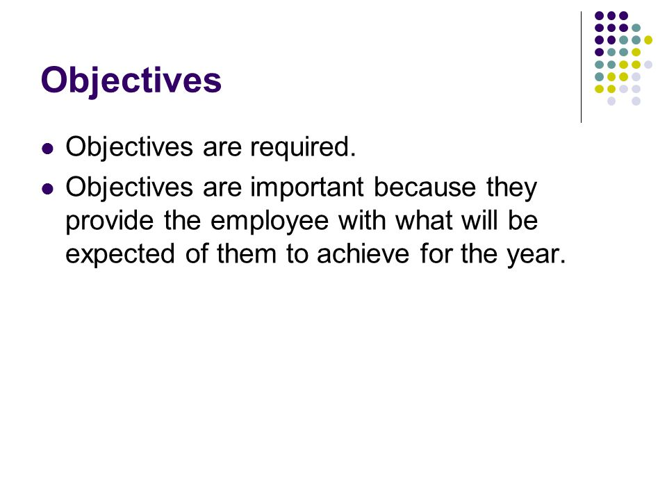 Objectives Objectives are required.