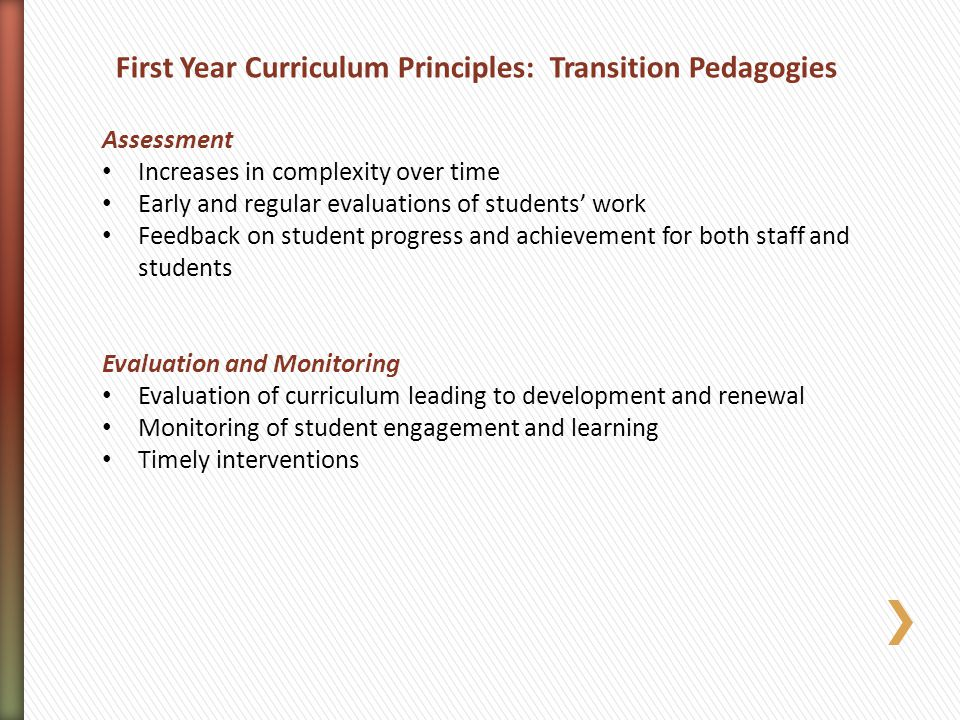First Year Curriculum Principles: Transition Pedagogies
