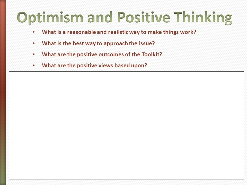 Optimism and Positive Thinking