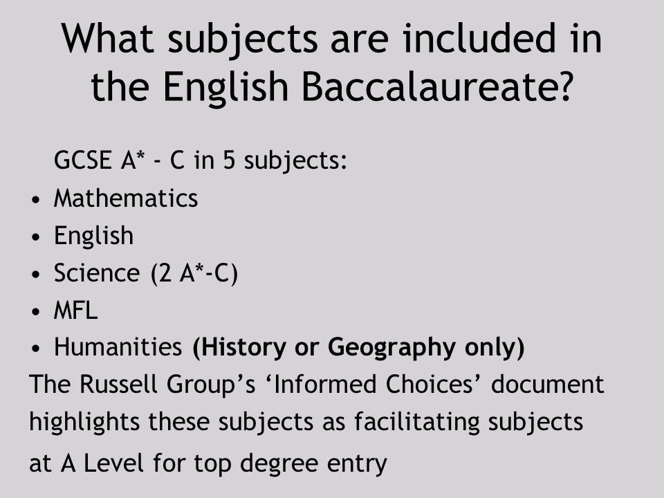 What subjects are included in the English Baccalaureate