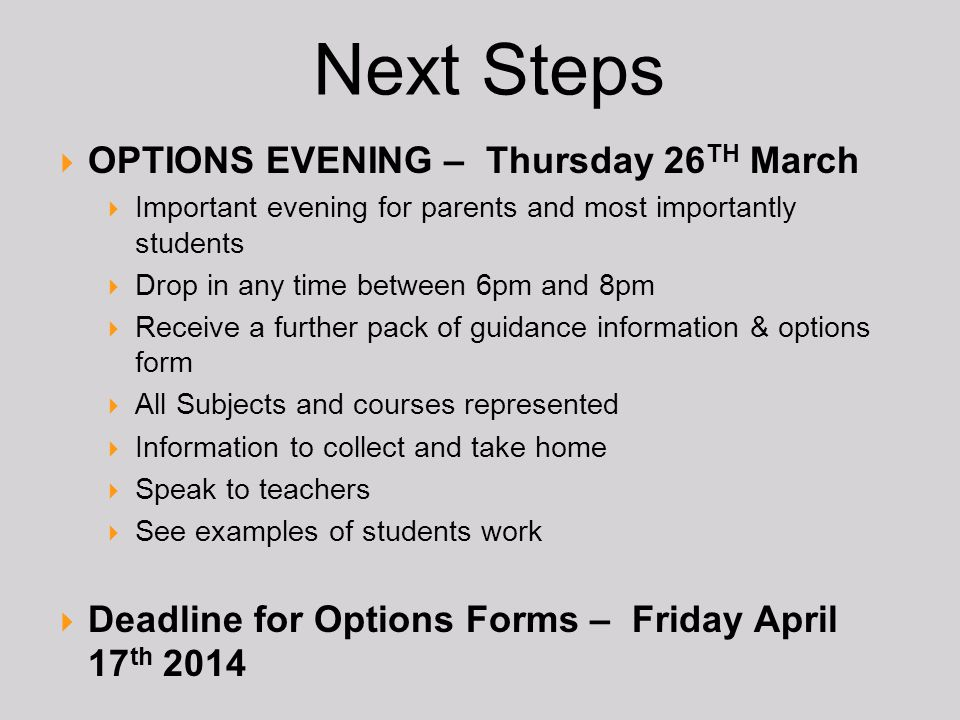 Next Steps OPTIONS EVENING – Thursday 26TH March