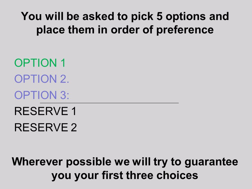 You will be asked to pick 5 options and place them in order of preference