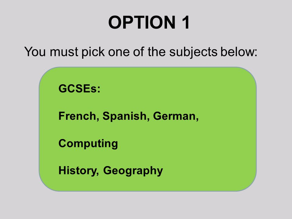 OPTION 1 You must pick one of the subjects below: GCSEs: