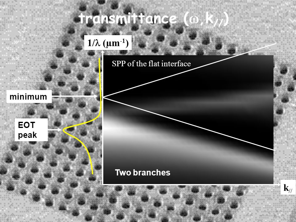 transmittance (w,k//) 1/l (µm-1) k// SPP of the flat interface minimum