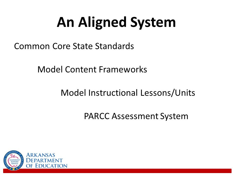 An Aligned System Common Core State Standards Model Content Frameworks Model Instructional Lessons/Units PARCC Assessment System