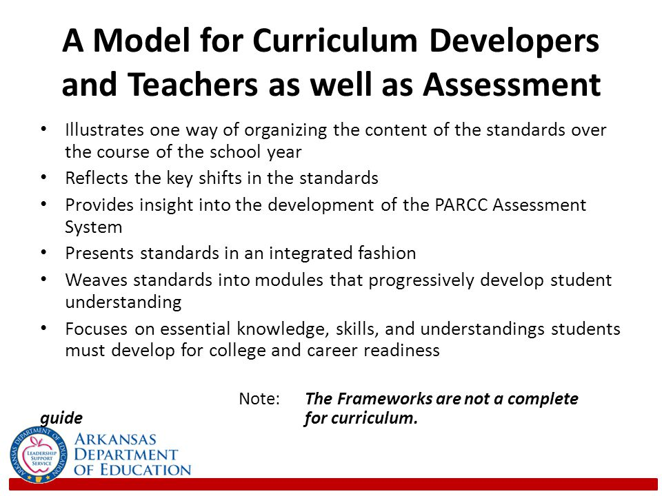 A Model for Curriculum Developers and Teachers as well as Assessment