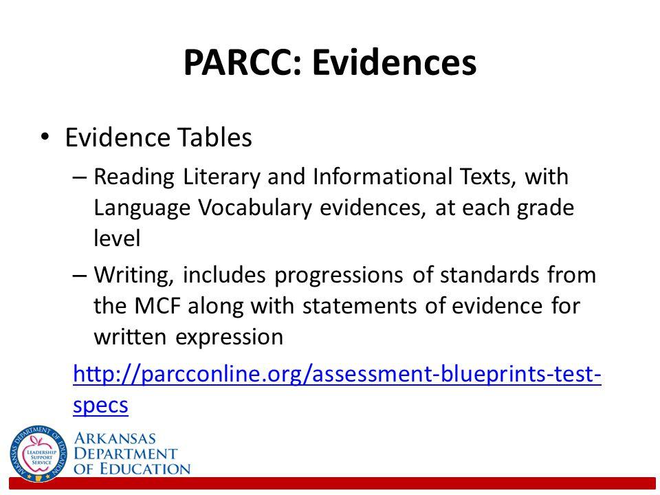 PARCC: Evidences Evidence Tables