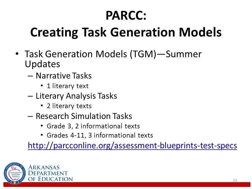 PARCC: Creating Task Generation Models